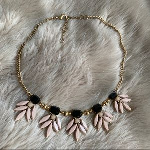 J. Crew Black & Blush Crystal Statement Necklace